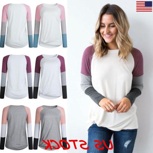 US Fashion Women's Long Sleeve Loose Blouse Casual Shirt Sum