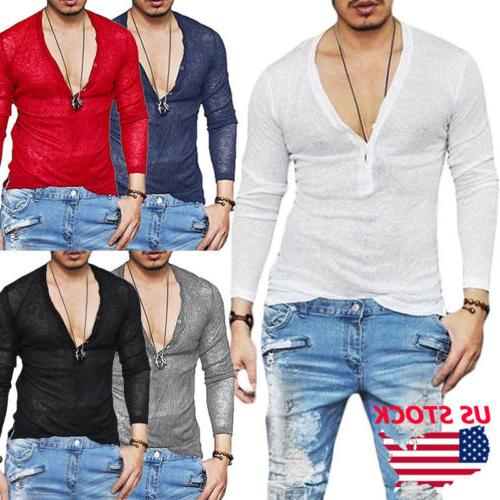 US Men Boys Slim Fit V Neck Long Sleeve Muscle Tee T-shirt C