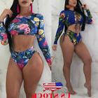 US Women Long Sleeve Swimwear Push-up Bikini Set Swimsuit Ba