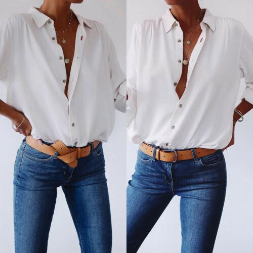 US White Shirt Casual Tunic Button