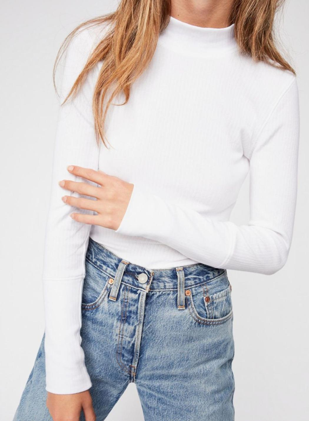 white long sleeve mock neck ribbed
