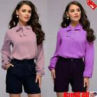 Women Bow Tie Stand Collar Chiffon Blouse Solid Long Sleeve