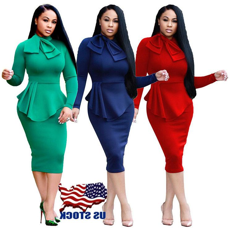 Women Casual Long Sleeve Dresses Bodycon Evening Elegant Off