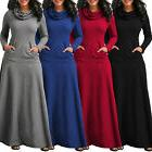 Women Casual Pocket Cowl Neck Long Sleeve Swing fit Maxi Dre