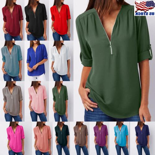 Women Chiffon Loose Tops Long Sleeve Sexy Zip V Neck T Shirt