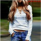 Women Cotton V-neck Top Long Sleeve Shirt Casual Blouse Loos