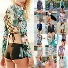 Women Long Sleeve Surfing One Piece Bikini Monikini Swimsuit
