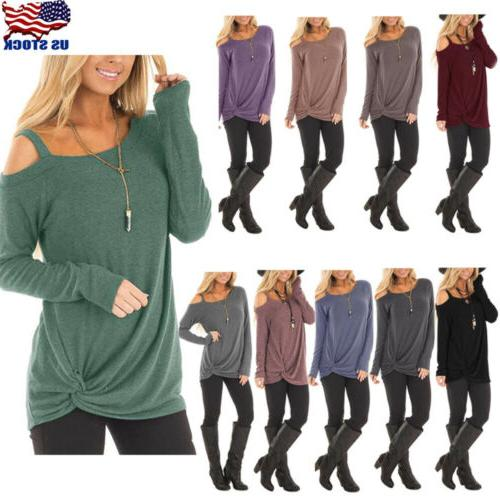 Women Off One Shoulder Long Sleeve T Shirt Ladies Casual Blo
