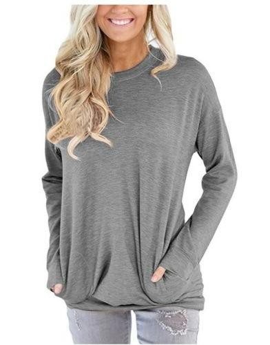 Women's Autumn Long Sleeve Round Neck Pullover Pocket