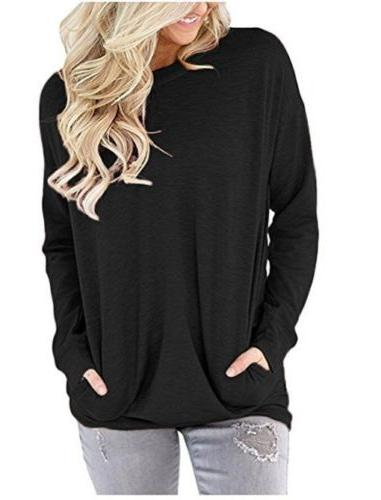 Women's Autumn Long Round Pullover Blouse Tops T Casual Pocket