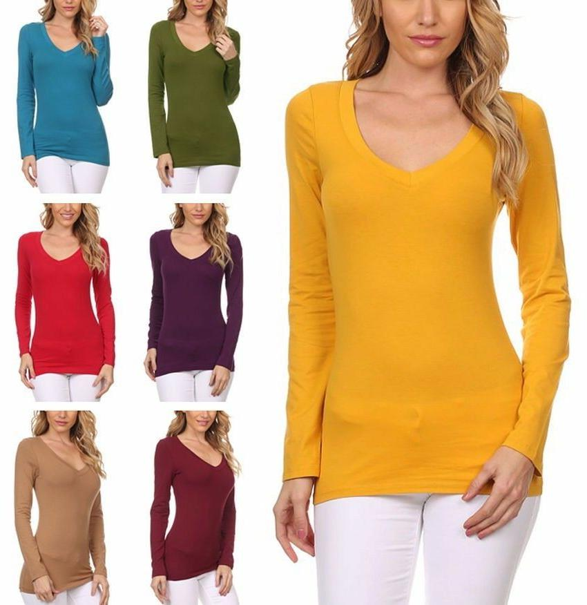 Women's  Basic Fitted Cotton V-Neck Top Long Sleeve T-Shirt