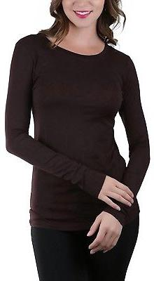 ToBeInStyle Women's Basic Long Sleeve Contrast Neck Binding
