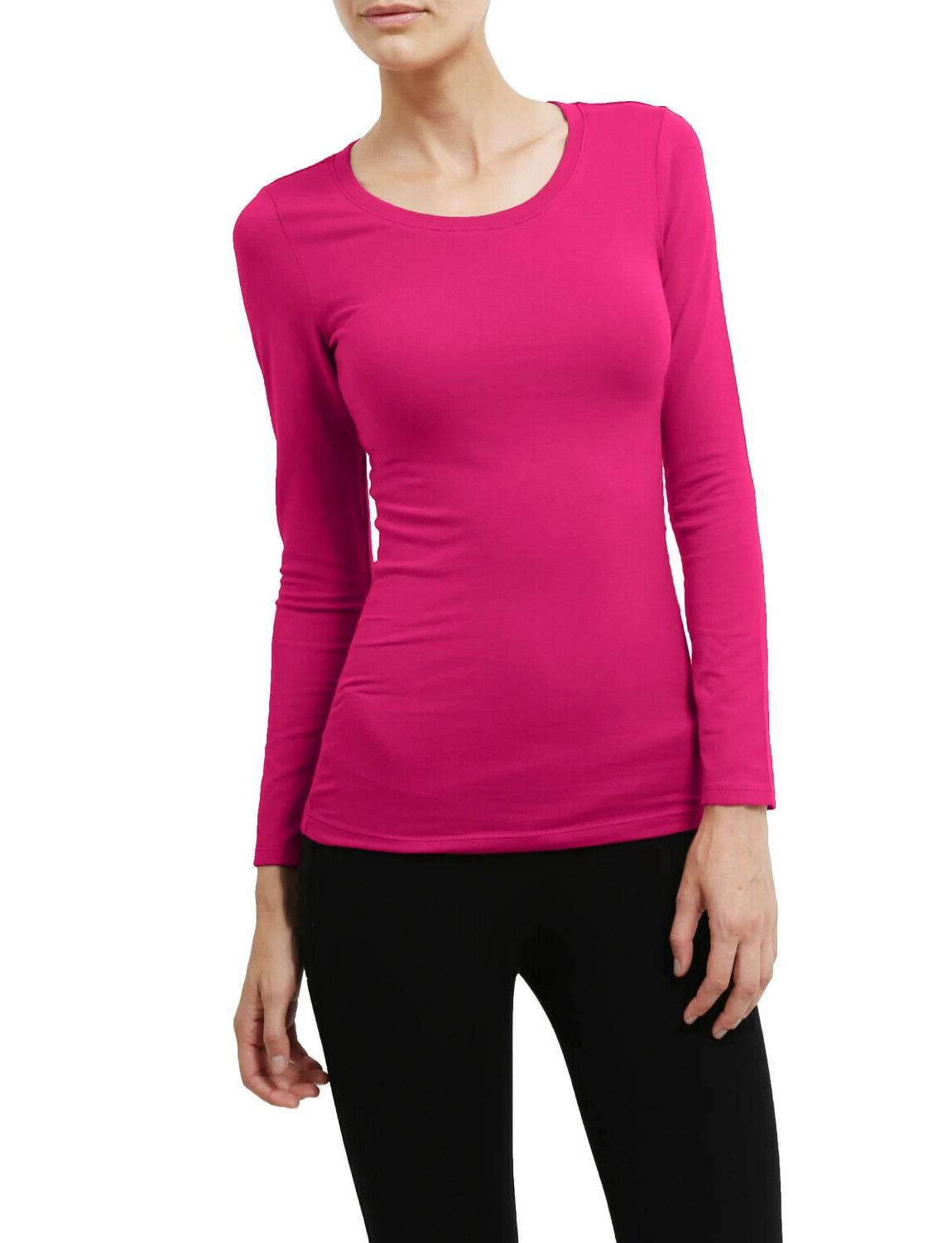 Women's Long Top Slim Fit Stretch Crew T-shirt
