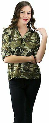ToBeInStyle Women's Camo Roll Up Long Sleeve Button Down Shi