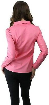 ToBeInStyle Women's Sleeve Button-Down Collared Shirt