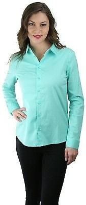 women s long sleeve button down collared