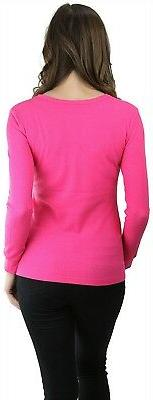 ToBeInStyle Women's Long Sleeve Cotton Crew Thermal Top