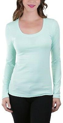 ToBeInStyle Women's Long Sleeve Scoop Neckline T-Shirt