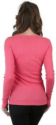 ToBeInStyle Women's Long Sleeve V-Neck Button Detail Thermal Henley
