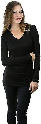 ToBeInStyle Women's Long Sleeve V-Neck Form Fitting Tee