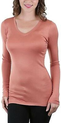ToBeInStyle Women's Long Sleeve V-Neck Pastel Color Tee