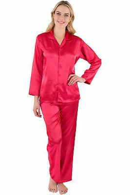 women s satin pajama set button up