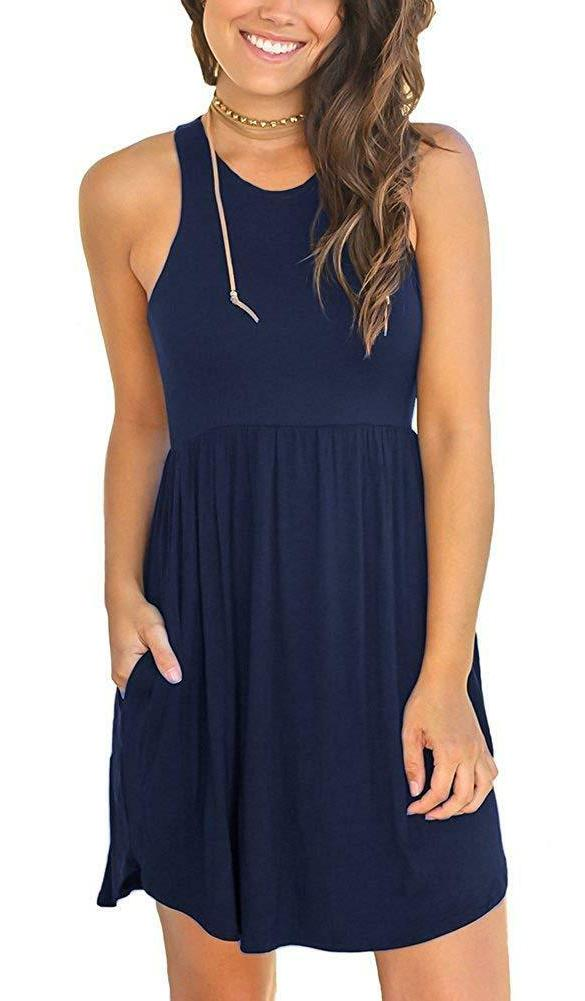Unbranded Sleeveless Plain Dresses Casual Dress with
