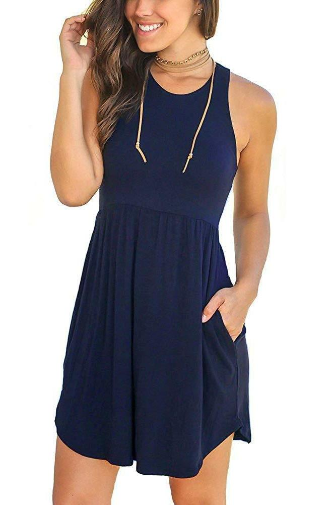 Unbranded Women's Loose Plain Dresses Casual Dress with