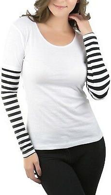 ToBeInStyle Women's Striped Long Sleeve Scoop Neck Top