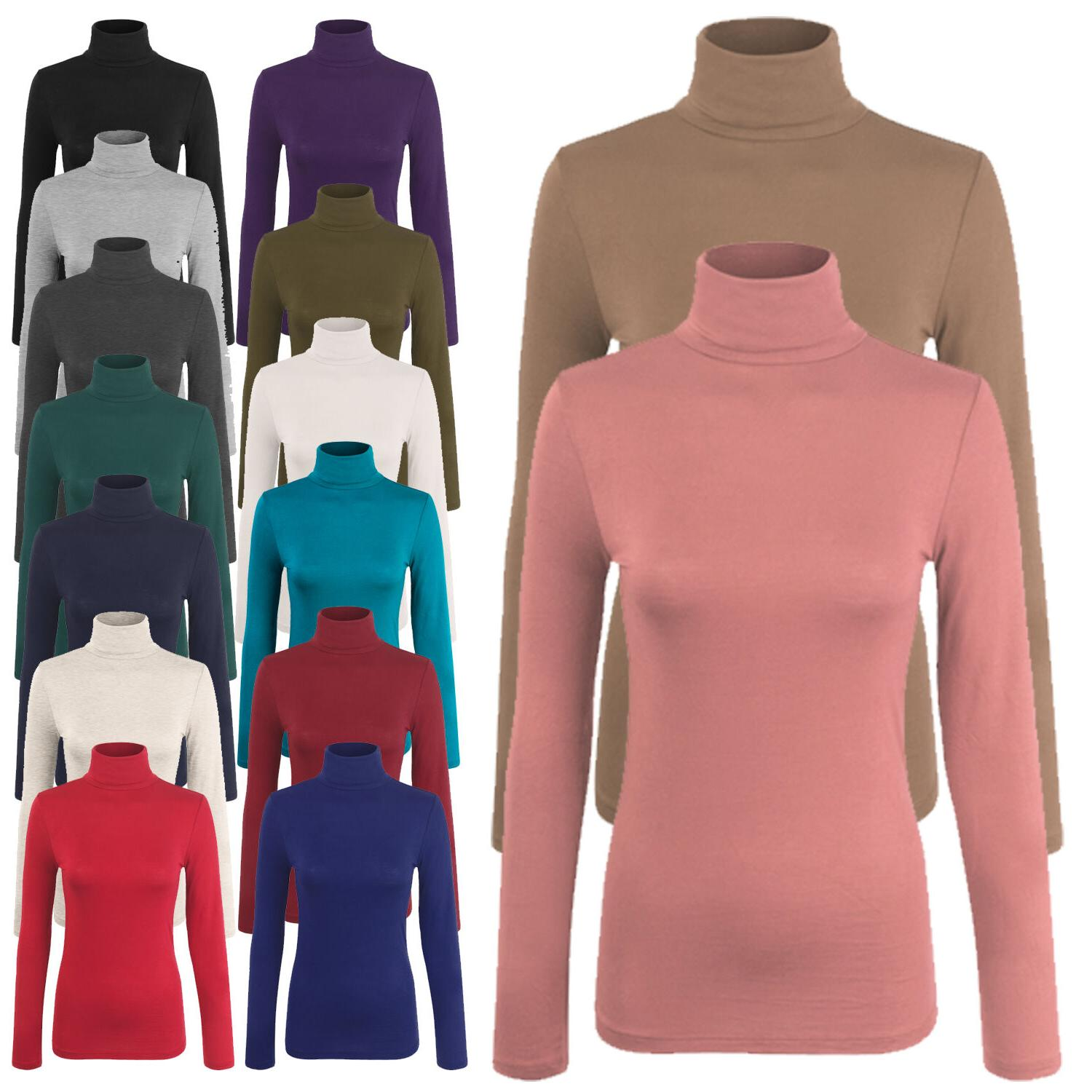 Women's Turtleneck Long Sleeve Basic Solid Fitted Shirt with