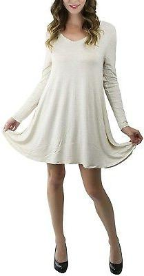 ToBeInStyle Women's V-Neck Long Sleeve Trapeze Top