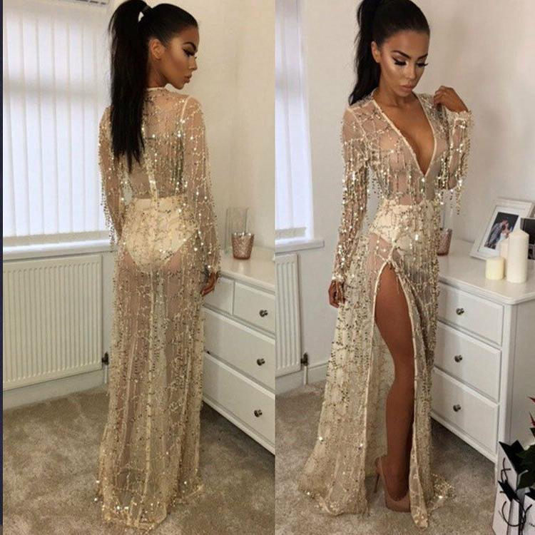 Women Sexy Fringe Sequin Long Sleeve Deep V Neck Evening Par