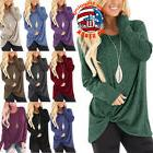 Women Solid O-neck Long Sleeve Pullover Loose T-Shirt Autumn