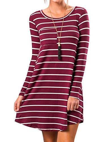 women striped long sleeve crewneck t shirt