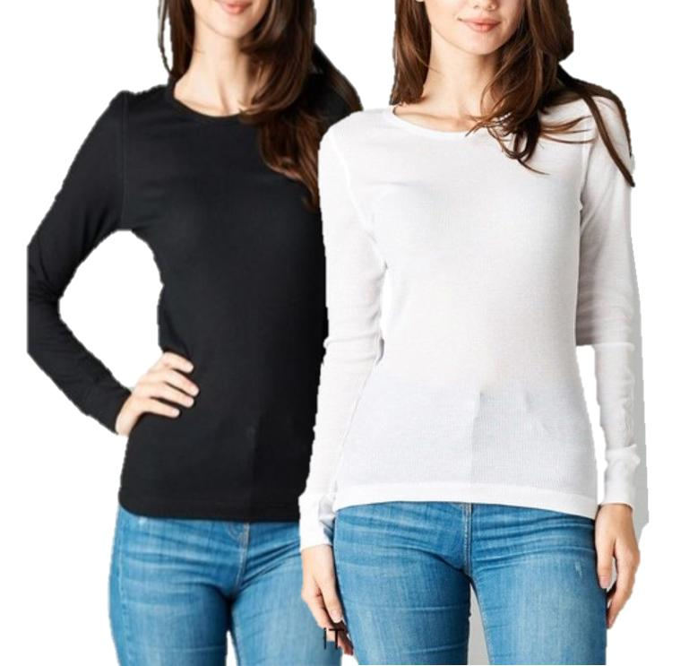 Thermal Long Sleeve Waffle Crew Neck Woman T Shirt Winter Pl