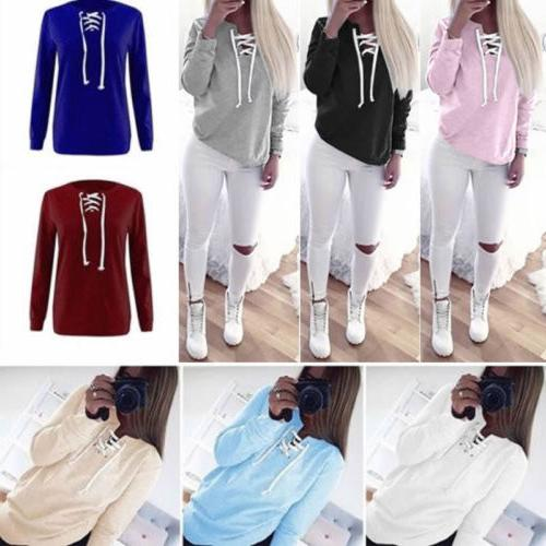Women V Sweatshirt Long Pullover Tops Blouse T-shirt