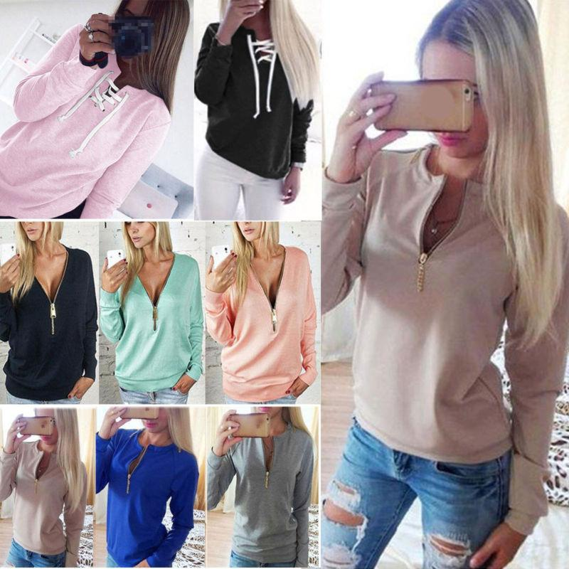 women v neck casual sweatshirt long sleeve
