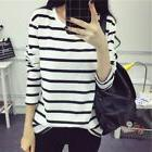 Womens Autumn Long Sleeve Casual Shirt Striped Cotton Loose