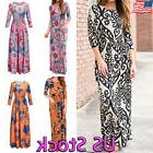 Womens Boho Print Long Sleeve Casual Dress Ladies Evening Pa