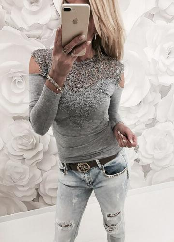 Womens Lace Cold Blouse Casual Shirt Tee US