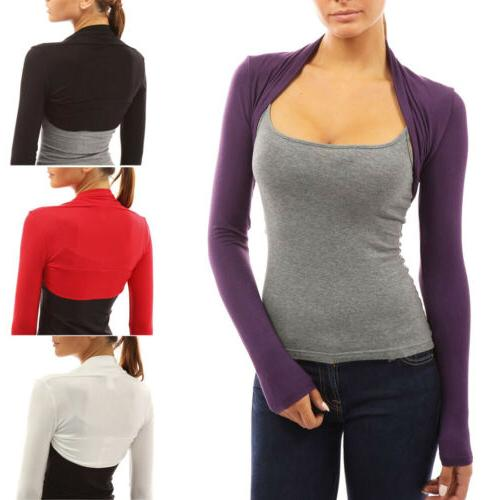 Womens Long Sleeve Bolero Shrug Coat Tops Stretch Cropped Ca