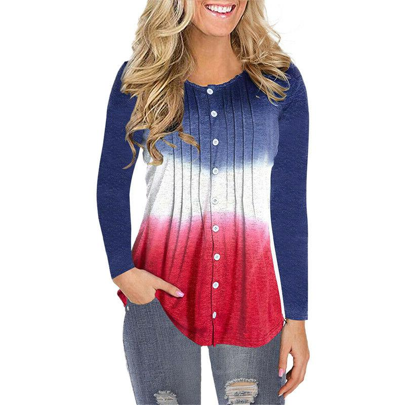 Womens Button Casual Ruched Baggy T Shirt Ladies