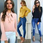 Womens Long Sleeve Casual Loose Blouse T-shirt Formal OL Wor