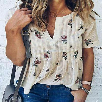 Womens Long Sleeve Casual V Neck Tops Loose Floral Spotted B