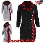 Womens Long Sleeve High-collar Hoody Sweater Hoodie Dress Lo