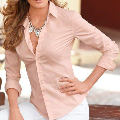 Womens Long Sleeve OL Slim Fit Shirt Button Down Top Casual