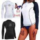 Womens Mens Long Sleeve Rash Guard Swim Shirt SPF40+ Surfing