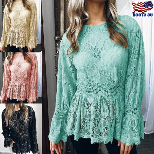 Womens Summer Long Sleeve Lace T Shirt Blouse Ruffle Ladies