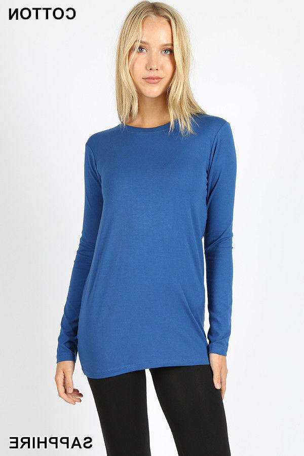 Womens Crew Neck Sleeve Cotton Stretch Top