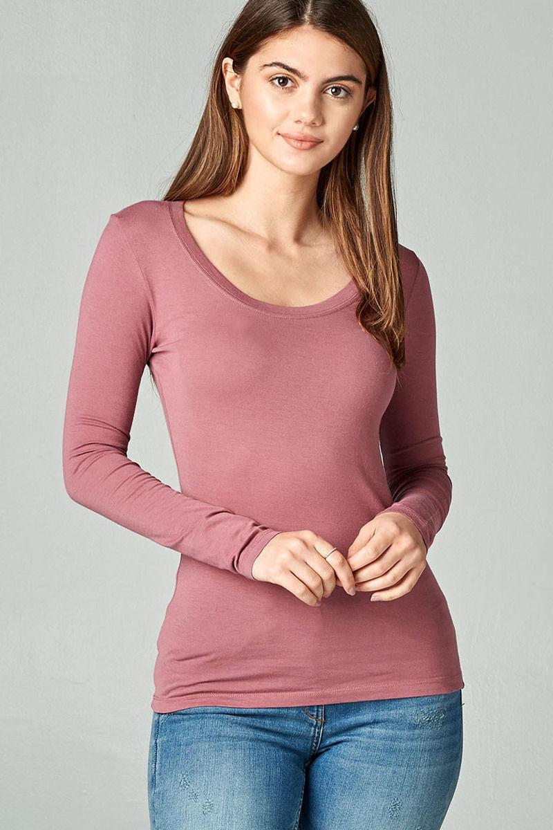 Womens Long Sleeve Basic Stretch Weight S/M/L